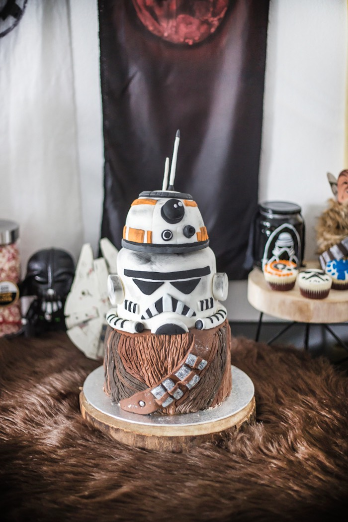 Star Wars Themed Birthday Cake from a Star Wars Birthday Party on Kara's Party Ideas | KarasPartyIdeas.com (17)