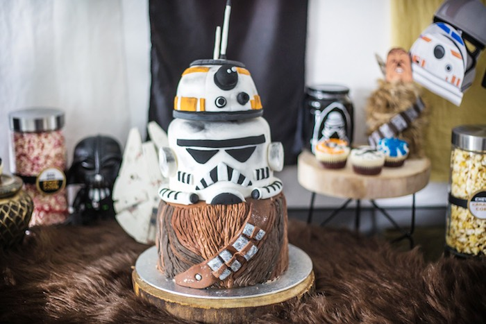 Star Wars Themed Birthday Cake from a Star Wars Birthday Party on Kara's Party Ideas | KarasPartyIdeas.com (16)