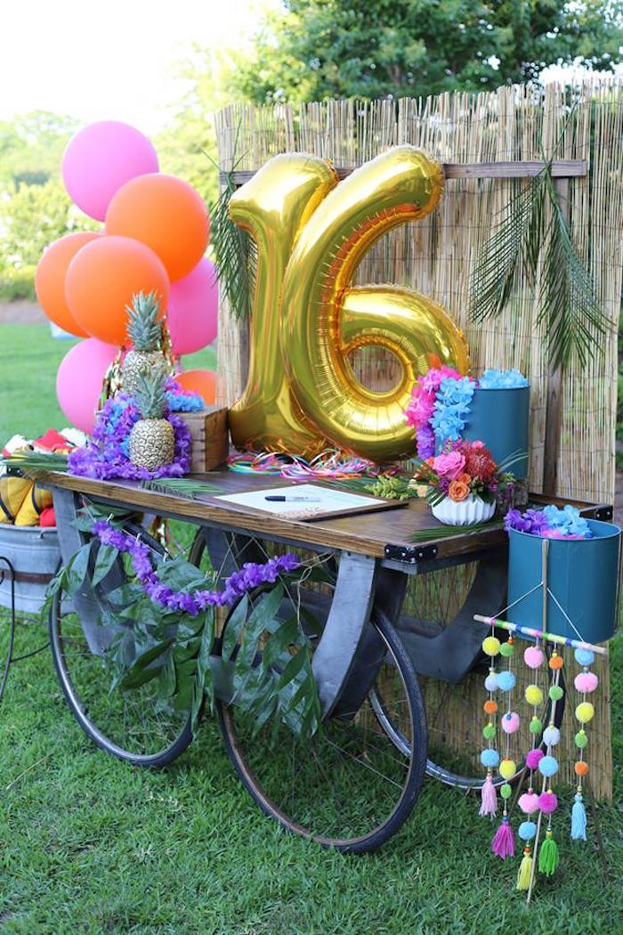 Tropical Sweet 16 Welcome Table from a Sweet 16 Luau on Kara's Party Ideas | KarasPartyIdeas.com (7)