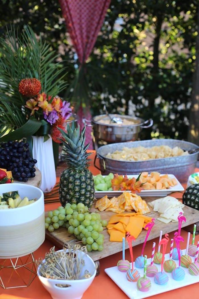 Tropical Food Table from a Sweet 16 Luau on Kara's Party Ideas | KarasPartyIdeas.com (6)
