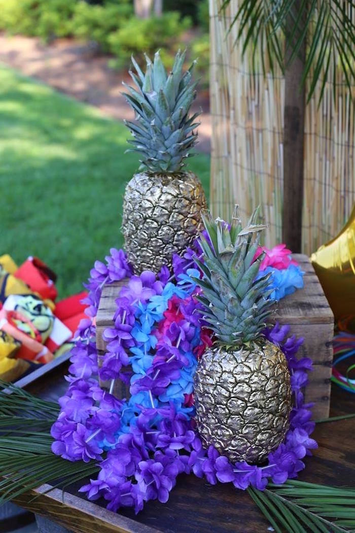 Gold-painted Pineapples from a Sweet 16 Luau on Kara's Party Ideas | KarasPartyIdeas.com (5)