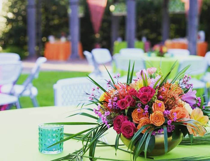 Tropical Guest Table Blooms from a Sweet 16 Luau on Kara's Party Ideas | KarasPartyIdeas.com (4)