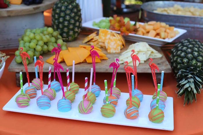 Flamingo Cake Pops from a Sweet 16 Luau on Kara's Party Ideas | KarasPartyIdeas.com (15)