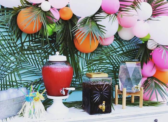 Tropical Beverage Table Bar from a Sweet 16 Luau on Kara's Party Ideas | KarasPartyIdeas.com (14)