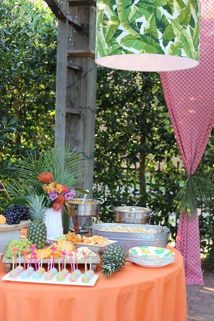 Tropical Food Table from a Sweet 16 Luau on Kara's Party Ideas | KarasPartyIdeas.com (13)