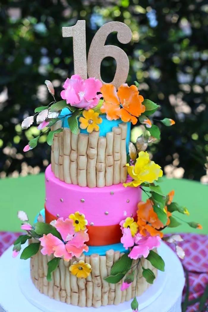 Tropical Birthday Cake from a Sweet 16 Luau on Kara's Party Ideas | KarasPartyIdeas.com (11)