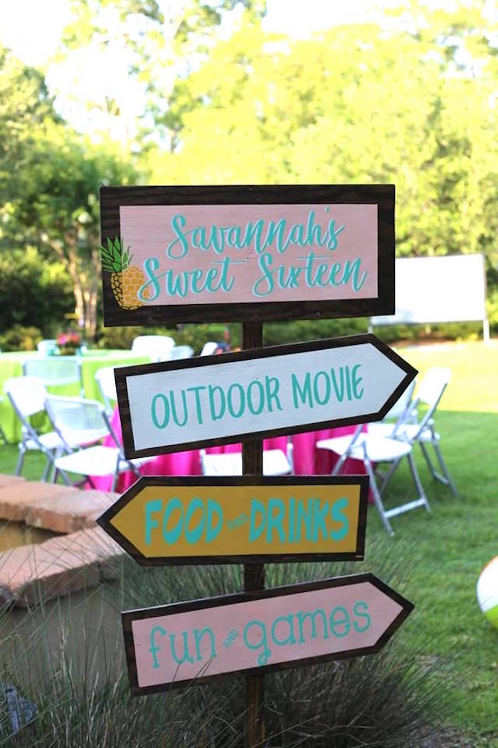 Tropical Directional Signage from a Sweet 16 Luau on Kara's Party Ideas | KarasPartyIdeas.com (8)