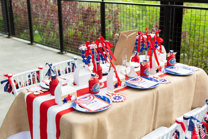 Patriotic Guest Table from a Red, White & Blue Patriotic Party on Kara's Party Ideas | KarasPartyIdeas.com