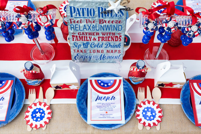 Patriotic Table Setting from a Red, White & Blue Patriotic Party on Kara's Party Ideas | KarasPartyIdeas.com