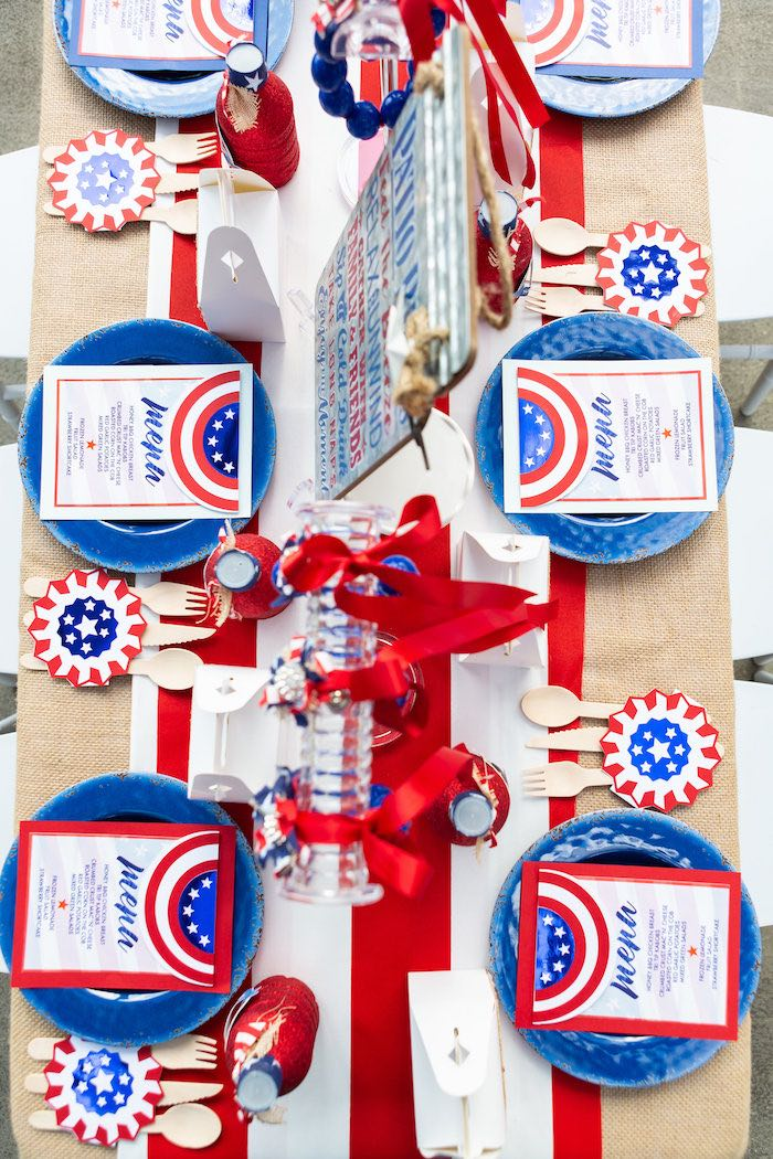 Guest Tabletop from a Red, White & Blue Patriotic Party on Kara's Party Ideas | KarasPartyIdeas.com