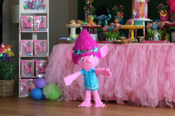 Poppy Pinata Standee from a Trolls Birthday Party on Kara's Party Ideas | KarasPartyIdeas.com (8)