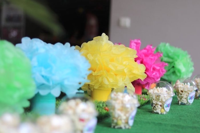 Paper Pom Table Centerpieces from a Trolls Birthday Party on Kara's Party Ideas | KarasPartyIdeas.com (7)