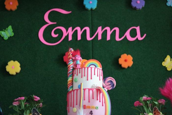 Poppy-inspired Trolls Cake from a Trolls Birthday Party on Kara's Party Ideas | KarasPartyIdeas.com (3)