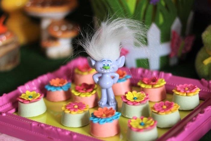 Flower Oreos from a Trolls Birthday Party on Kara's Party Ideas | KarasPartyIdeas.com (13)