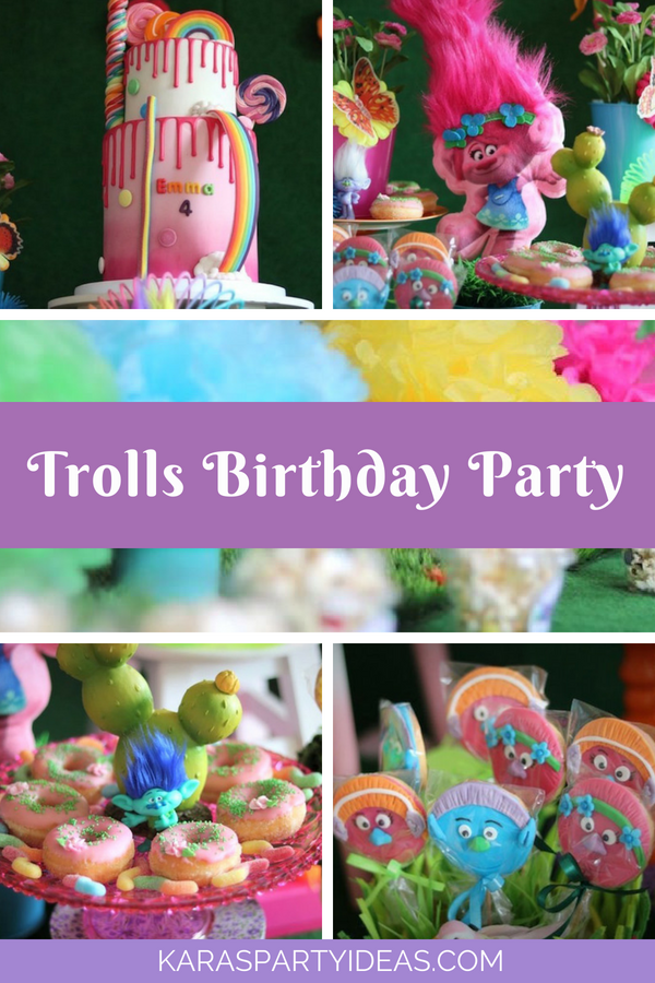 Trolls Birthday Party via Kara's Party Ideas - KarasPartyIdeas.com