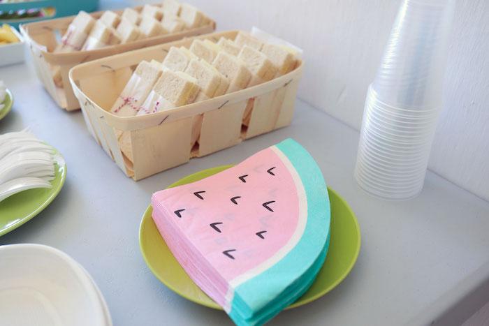 Watermelon Slice Napkins from a Two-tti Frutti Birthday Party on Kara's Party Ideas | KarasPartyIdeas.com (8)