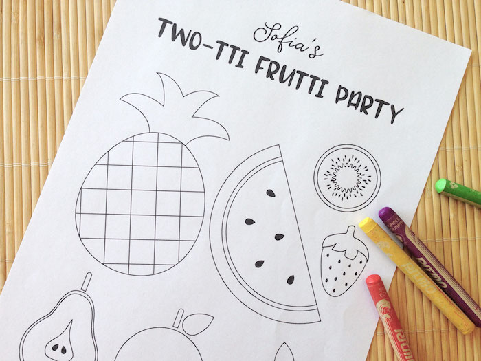 Two-tti Frutti Coloring Page from a Two-tti Frutti Birthday Party on Kara's Party Ideas | KarasPartyIdeas.com (7)