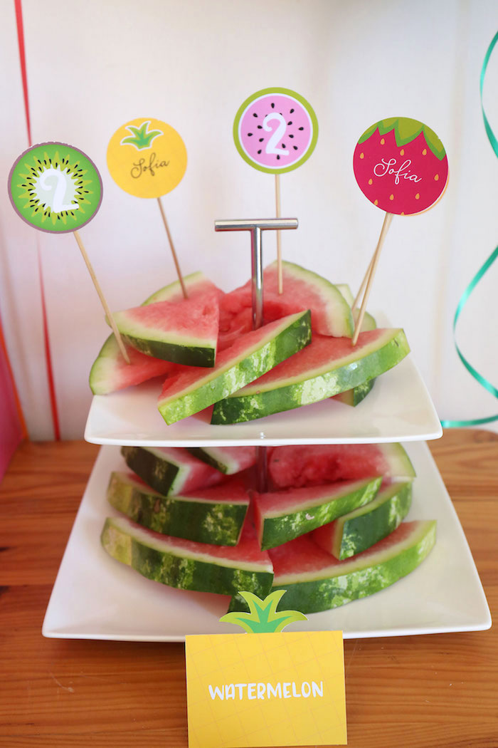 Watermelon from a Two-tti Frutti Birthday Party on Kara's Party Ideas | KarasPartyIdeas.com (16)