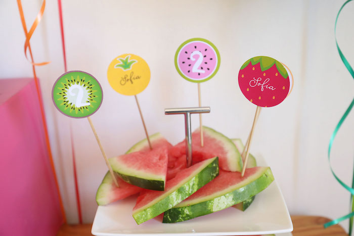 Fruit-inspired Toppers from a Two-tti Frutti Birthday Party on Kara's Party Ideas | KarasPartyIdeas.com (15)