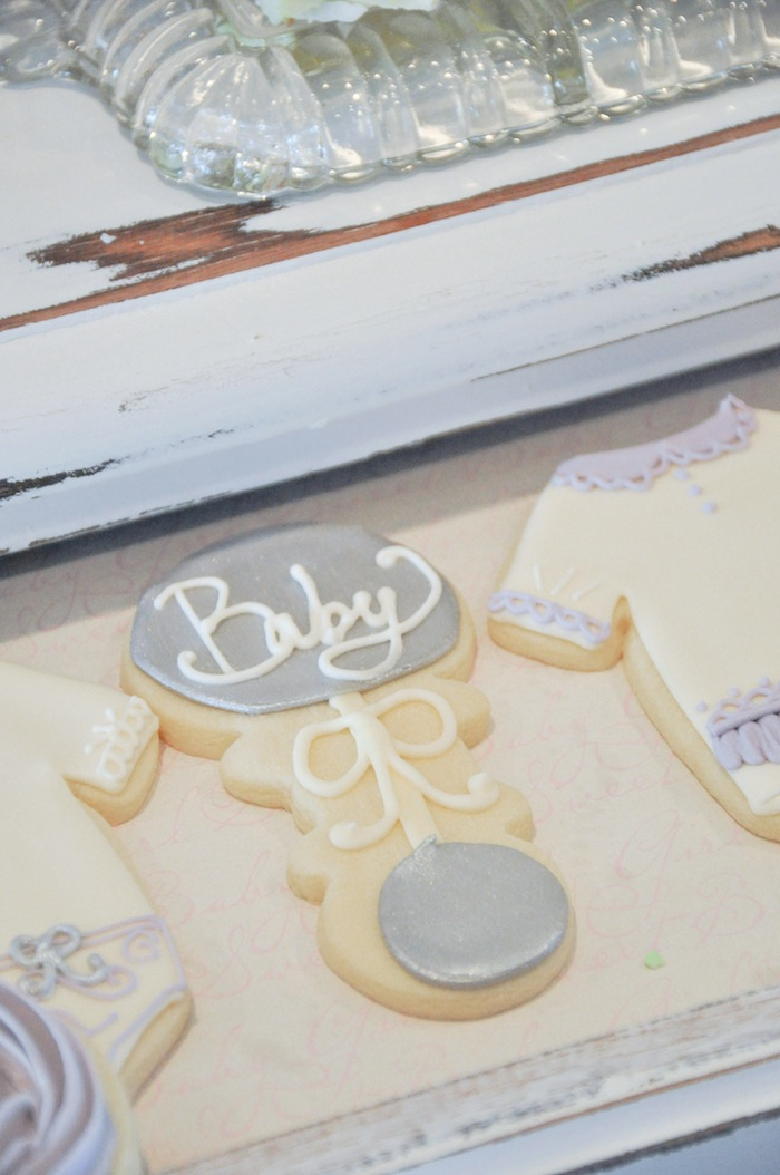 Baby Rattle Cookie Vintage Lavender and Silver Baby Shower for Kara's Party Ideas | Kara Allen-5