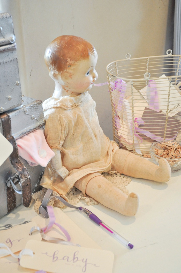 Doll Decor at a Vintage Lavender and Silver Baby Shower for Kara's Party Ideas | Kara Allen-5