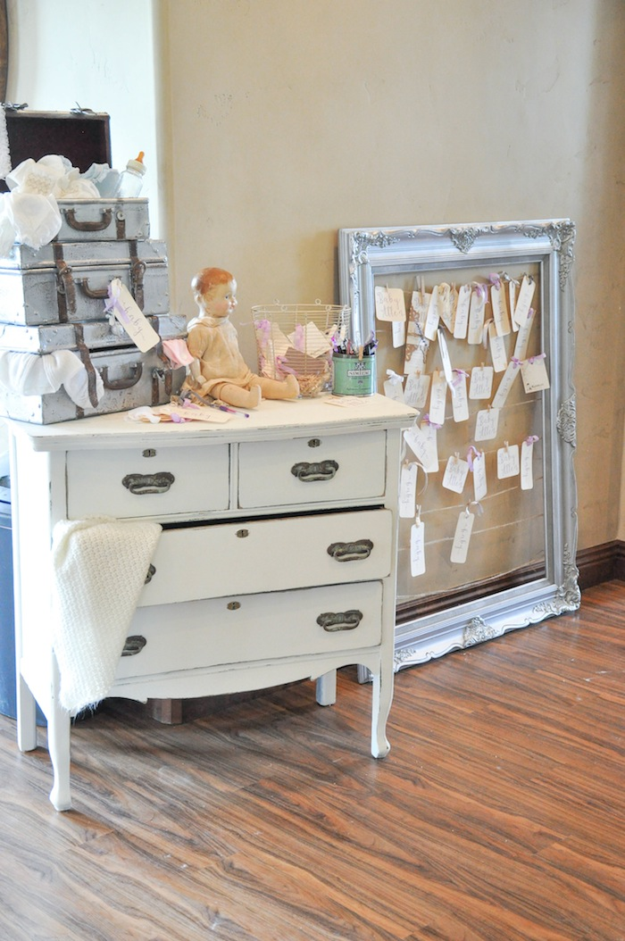 Decorations at a Vintage Lavender and Silver Baby Shower for Kara's Party Ideas | Kara Allen-5
