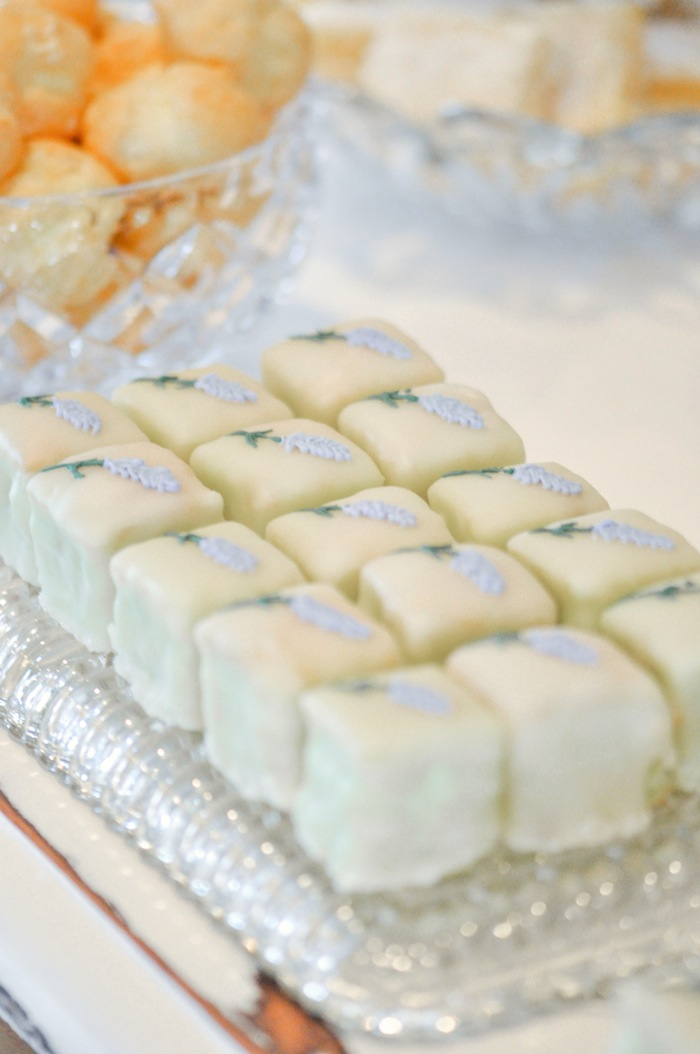 Petit Fours at a Vintage Lavender and Silver Baby Shower for Kara's Party Ideas | Kara Allen-5