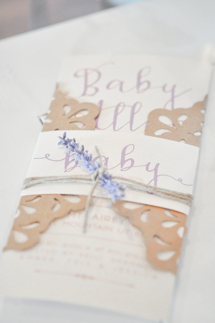Invitation at a Vintage Lavender and Silver Baby Shower for Kara's Party Ideas | Kara Allen-5