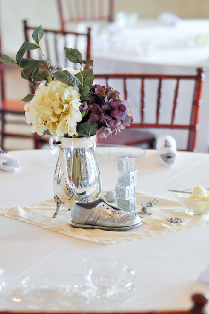 Centerpieces Vintage Lavender and Silver Baby Shower for Kara's Party Ideas | Kara Allen-5