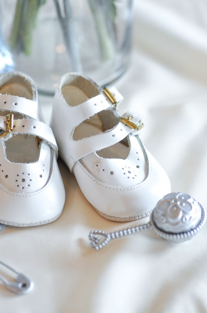 Baby Shoes Rattle Vintage Lavender and Silver Baby Shower for Kara's Party Ideas | Kara Allen-5