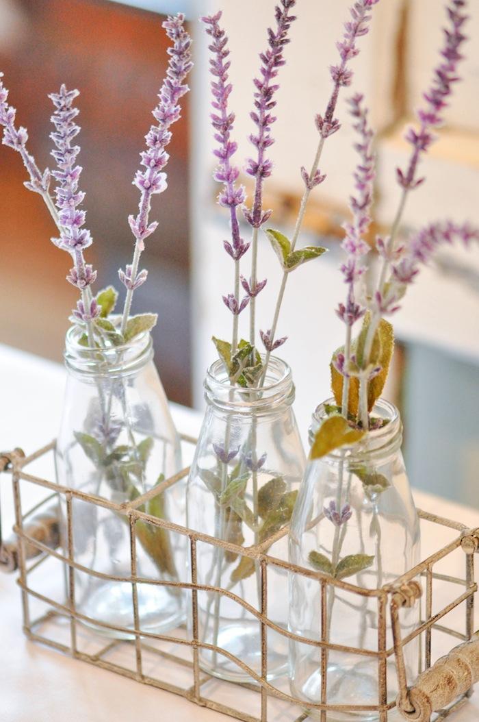 Lavender in Jars at a Vintage Lavender and Silver Baby Shower for Kara's Party Ideas | Kara Allen-5