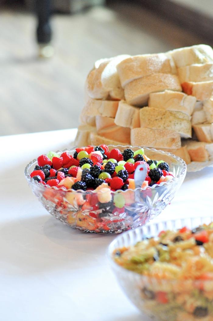 Fruit Salad at a Vintage Lavender and Silver Baby Shower for Kara's Party Ideas | Kara Allen-5