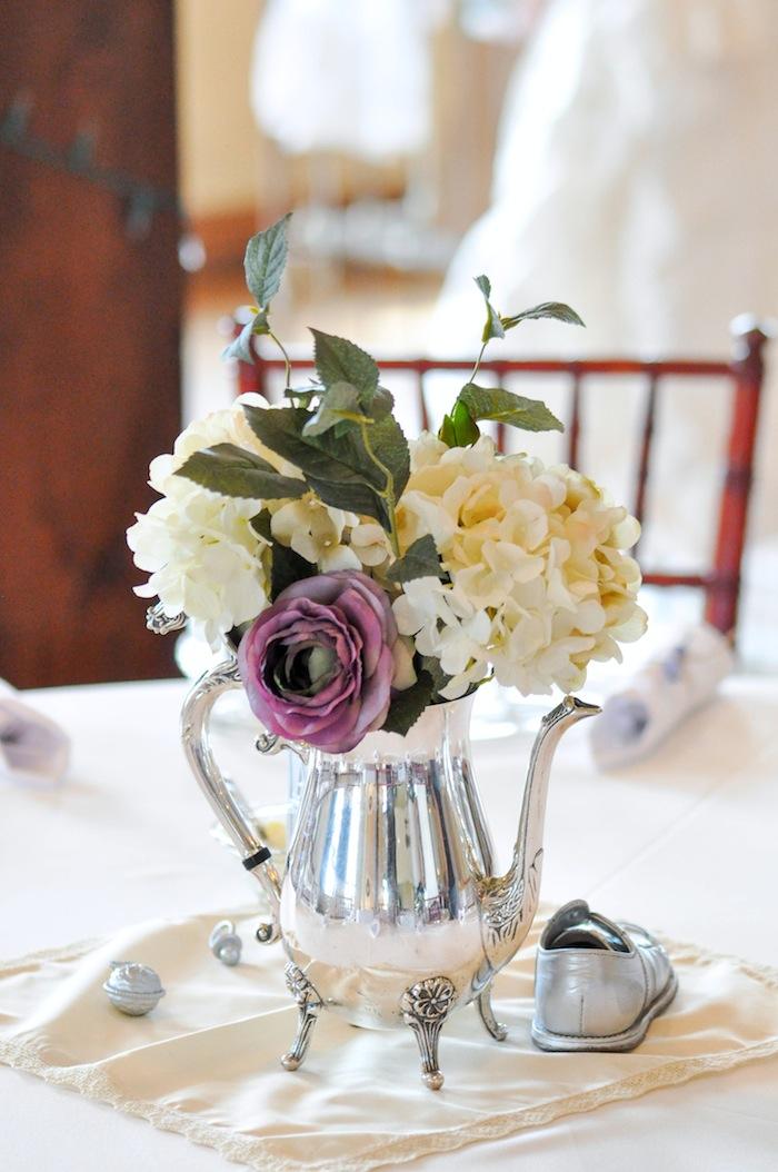 Silver Centerpiece Vintage Lavender and Silver Baby Shower for Kara's Party Ideas | Kara Allen-5