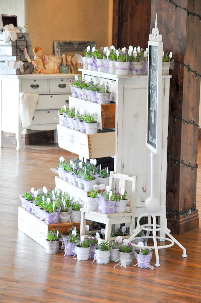 Garden Plant Party Take Home Favors Vintage Lavender and Silver Baby Shower for Kara's Party Ideas | Kara Allen-5