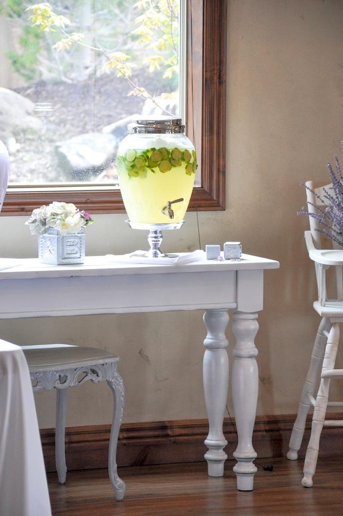 Cucumber Lemon Drink Vintage Lavender and Silver Baby Shower for Kara's Party Ideas | Kara Allen-5