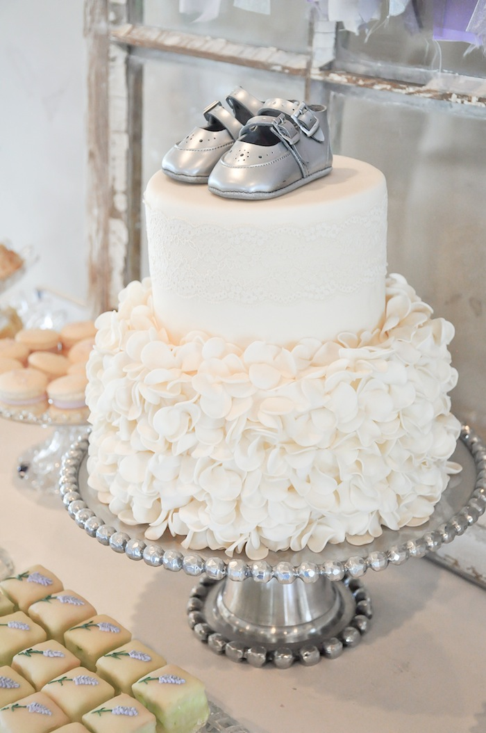 Cake at a Vintage Lavender and Silver Baby Shower for Kara's Party Ideas | Kara Allen-5