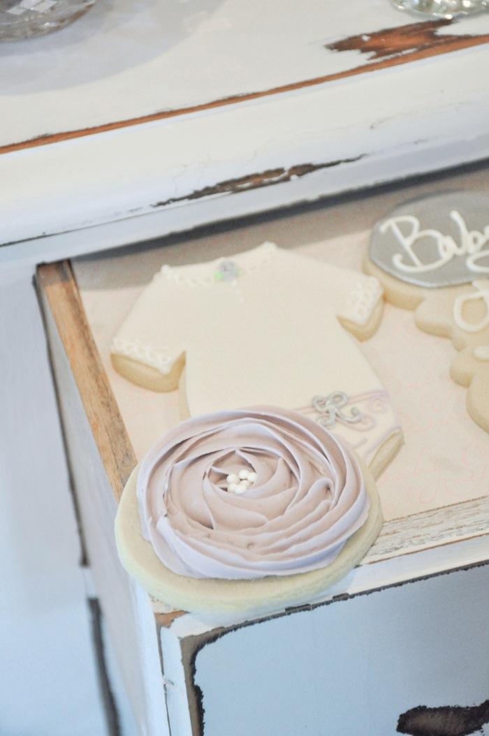 Onesie Cookies Vintage Lavender and Silver Baby Shower for Kara's Party Ideas | Kara Allen-5