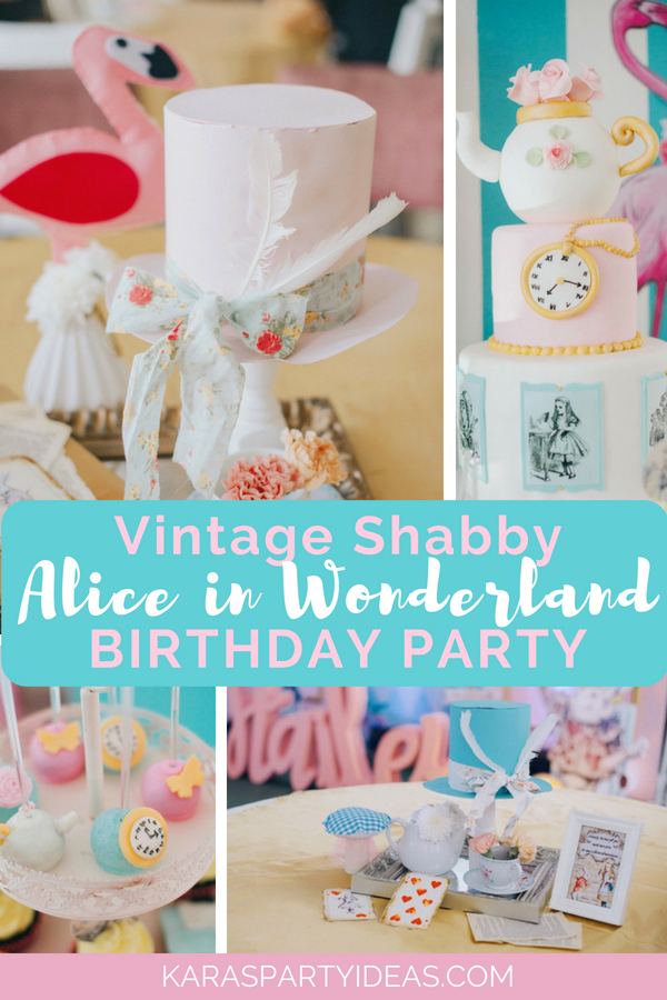 Vintage Shabby Alice in Wonderland Baptism Party