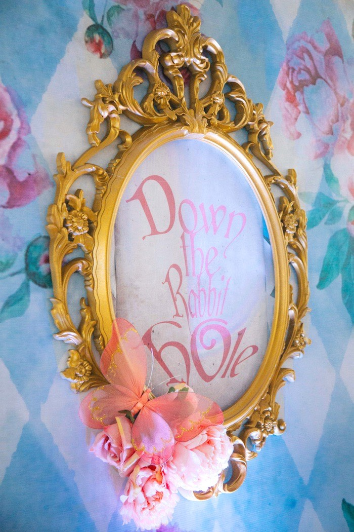 Down the Rabbit Hole Sign from a Vintage Shabby Alice in Wonderland Baptism Party on Kara's Party Ideas | KarasPartyIdeas.com (12)