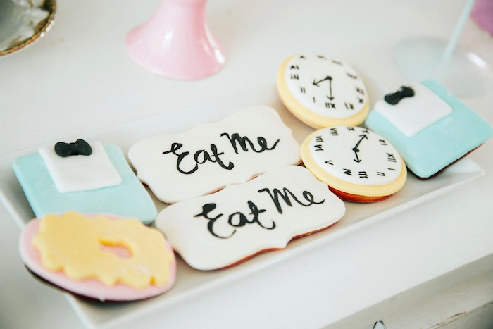 Alice in Wonderland Cookies from a Vintage Shabby Alice in Wonderland Baptism Party on Kara's Party Ideas | KarasPartyIdeas.com (11)