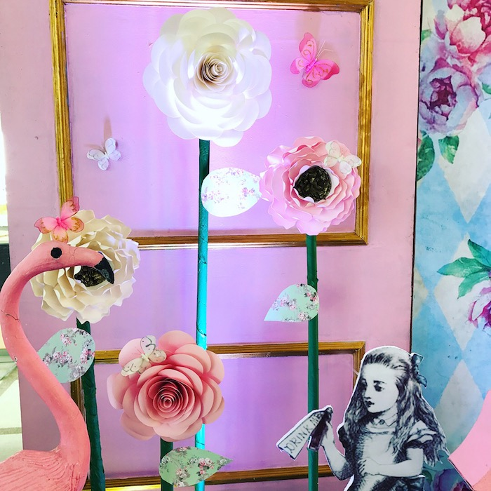 Flamingo Flower Backdrop from a Vintage Shabby Alice in Wonderland Baptism Party on Kara's Party Ideas | KarasPartyIdeas.com (10)