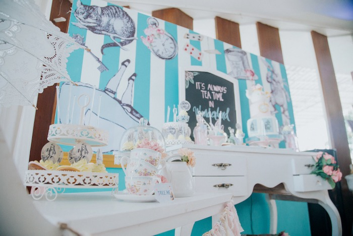 Alice in Wonderland Dessert Table from a Vintage Shabby Alice in Wonderland Baptism Party on Kara's Party Ideas | KarasPartyIdeas.com (7)