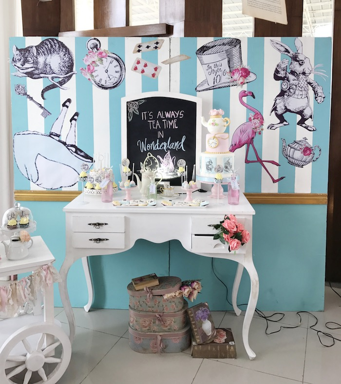 Alice in Wonderland Dessert Table from a Vintage Shabby Alice in Wonderland Baptism Party on Kara's Party Ideas | KarasPartyIdeas.com (6)