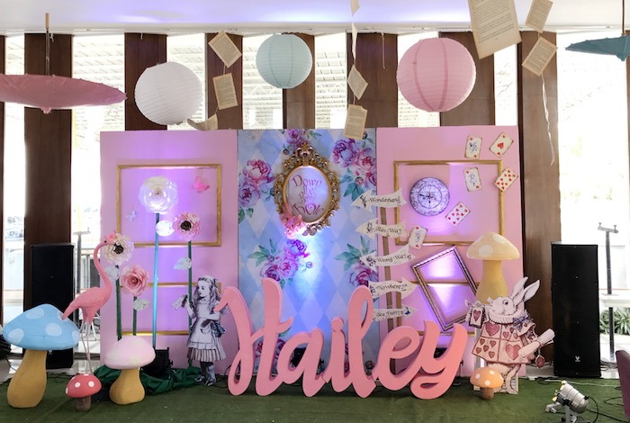 Alice in Wonderland Backdrop from a Vintage Shabby Alice in Wonderland Baptism Party on Kara's Party Ideas | KarasPartyIdeas.com (21)
