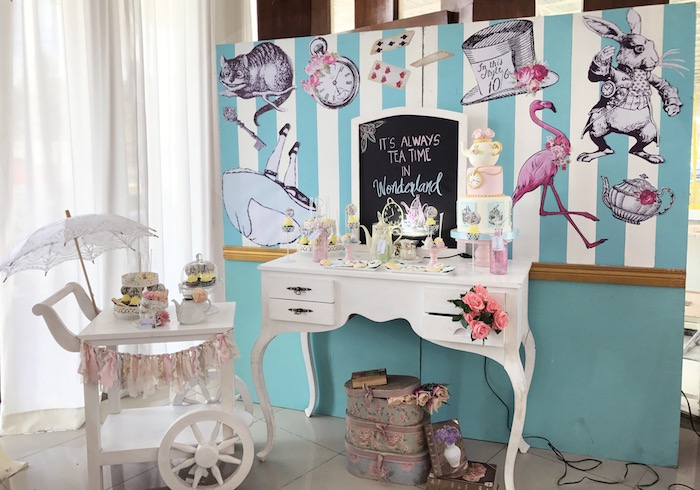 Alice in Wonderland Dessert Table from a Vintage Shabby Alice in Wonderland Baptism Party on Kara's Party Ideas | KarasPartyIdeas.com (20)