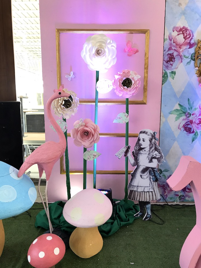 Flamingo Backdrop from a Vintage Shabby Alice in Wonderland Baptism Party on Kara's Party Ideas | KarasPartyIdeas.com (19)
