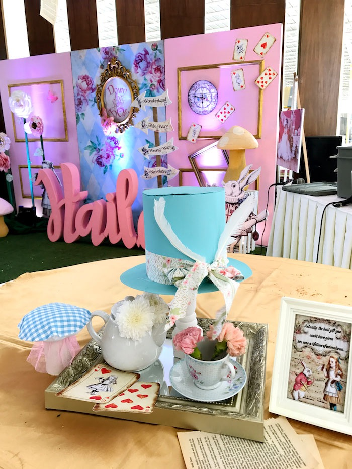 Alice in Wonderland Guest Table from a Vintage Shabby Alice in Wonderland Baptism Party on Kara's Party Ideas | KarasPartyIdeas.com (17)