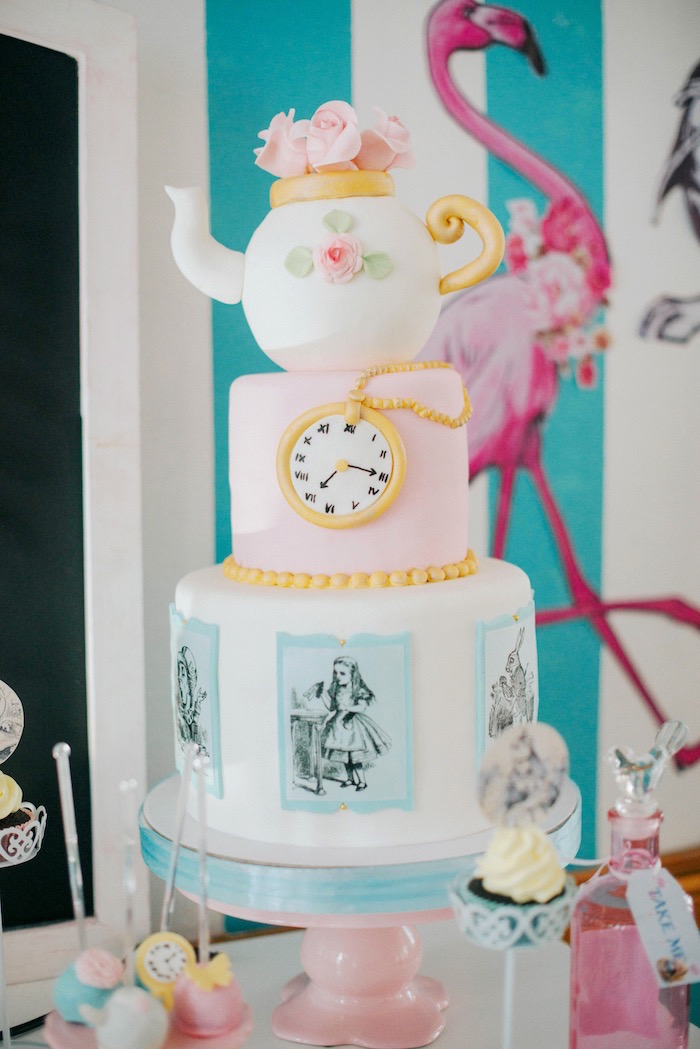 Alice in Wonderland Cake from a Vintage Shabby Alice in Wonderland Baptism Party on Kara's Party Ideas | KarasPartyIdeas.com (16)