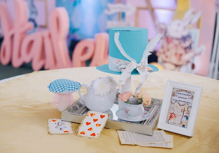 Alice in Wonderland Guest Table + Centerpiece from a Vintage Shabby Alice in Wonderland Baptism Party on Kara's Party Ideas | KarasPartyIdeas.com (15)