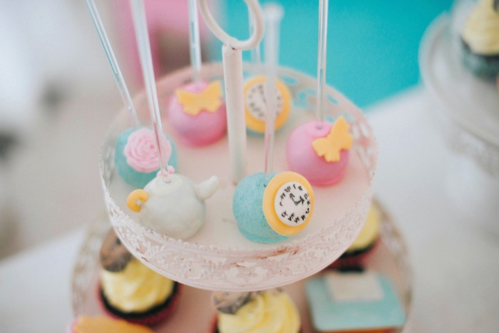 Alice in Wonderland Cake Pops from a Vintage Shabby Alice in Wonderland Baptism Party on Kara's Party Ideas | KarasPartyIdeas.com (13)